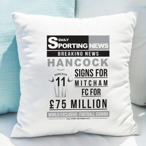 4005028 Football Signing Newspaper Cushion 7 scaled 1