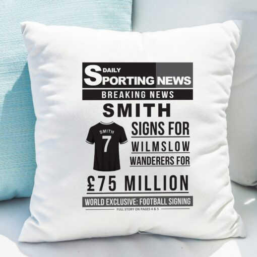 4005028 Football Signing Newspaper Cushion 9 scaled 1